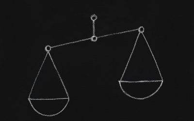 Right choice concept. Empty scales with one overweight cup on chalkboard, empty space